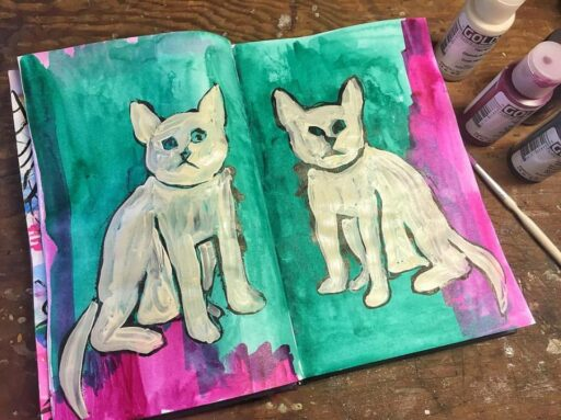 Cat painting in my art journal - Week 13 of 14 of my daily painting 365 project. #365project