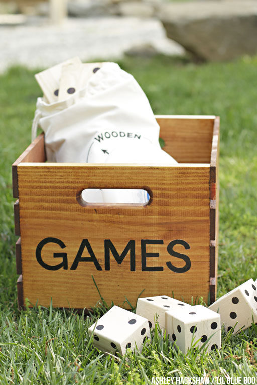 DIY Summer Outdoor Games Crate - A fun Summer gift or wedding gift - Summer decor #michaelsmakers #madeitwithmichaels