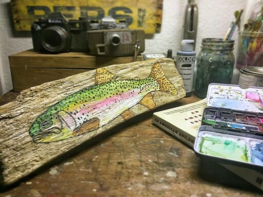 Daily Painting on Driftwood - Rainbow Trout