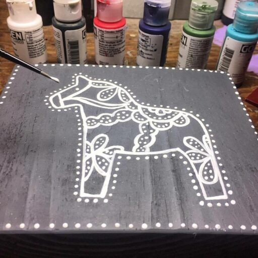 Dala Horse Painting - Artist: Ashley Hackshaw / Lil Blue Boo