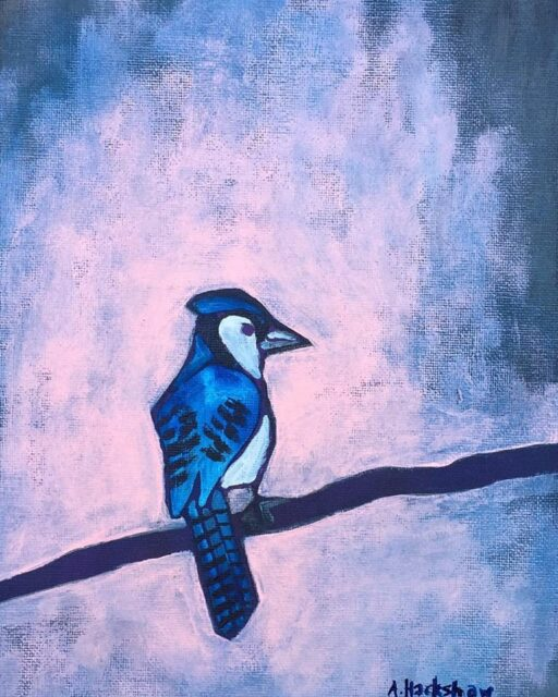 Blue Jay Bird Painting - Red Hen Chicken Painting - Artist: Ashley Hackshaw / Lil Blue Boo