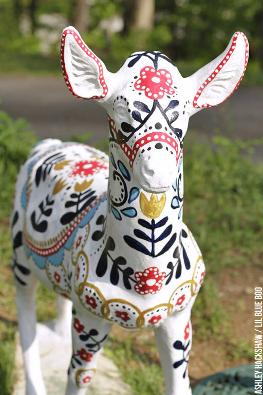 Painted Deer - Scandinavian Style Deer Sculpture