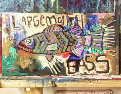 Large Mouth Bass Painting - Basquiat style