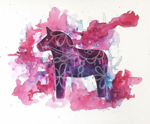 Dala horse painting - Swedish Dala Horse Art