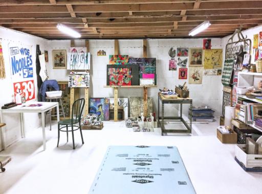 Art Studio Ideas Painting the Floor White - Basement Art Studio