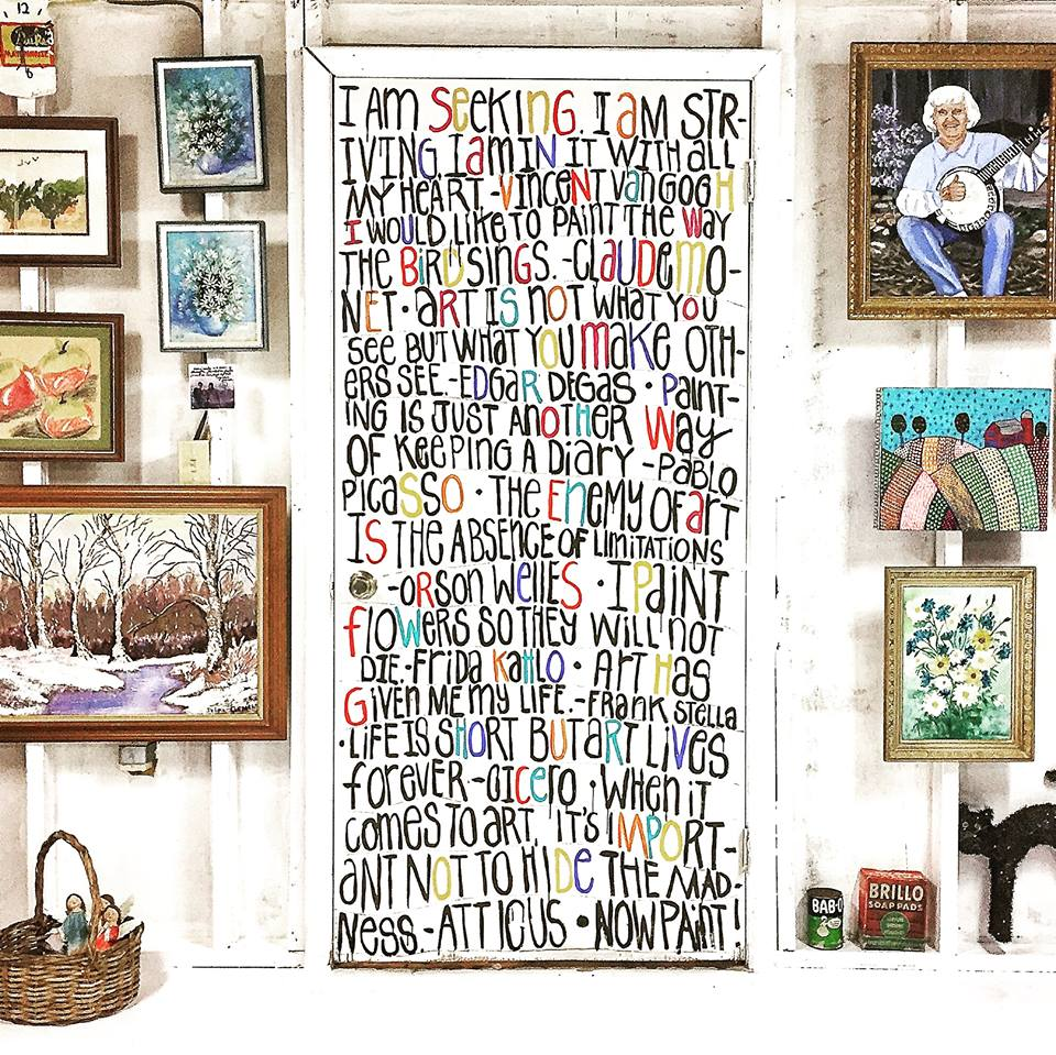 More Art Studio Ideas A Quote Mural And An Oversized Work Table