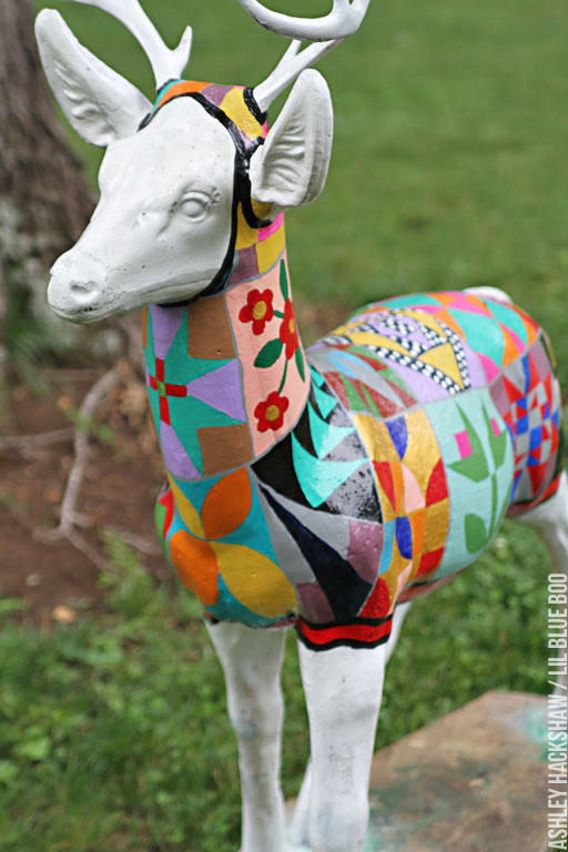 How to paint concrete garden statues a painted quilt ashley hackshaw lil blue boo for Can you use interior paint outdoors