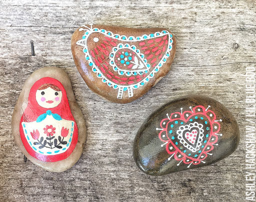 Painted rocks - Scandinavian Rock Design - Matryoshka Nesting Doll Rock