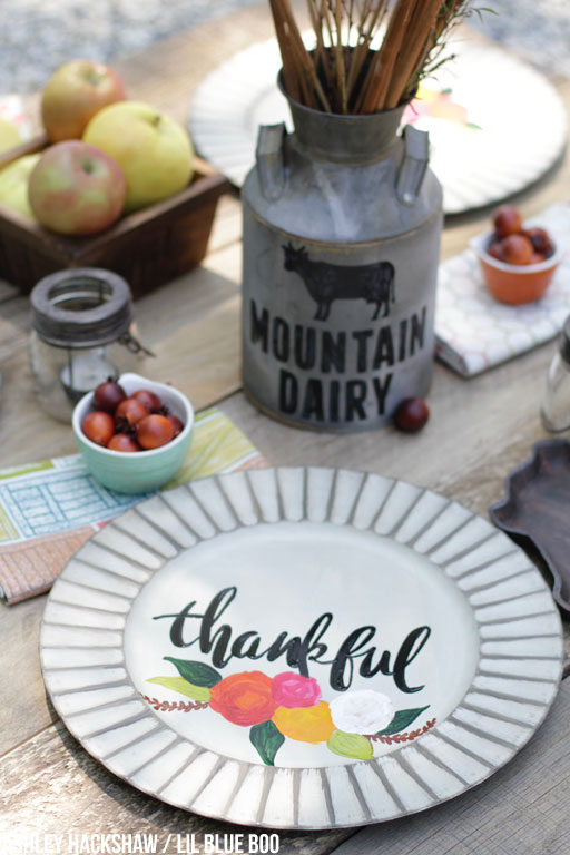 Farmhouse Table Decor Ideas - Hand painted Charger Plates