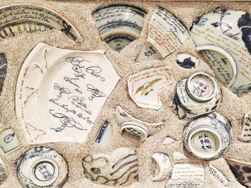 Ceramic artist Diane KW - Ship wreck shards - Cape Ann Art Museum