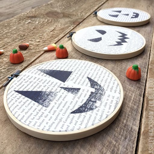 Halloween Embroidery Hoops ? Stitching on Used Book Pages