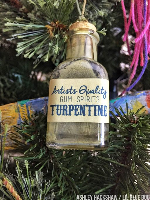DIY christmas tree ornament ideas - art supply themed