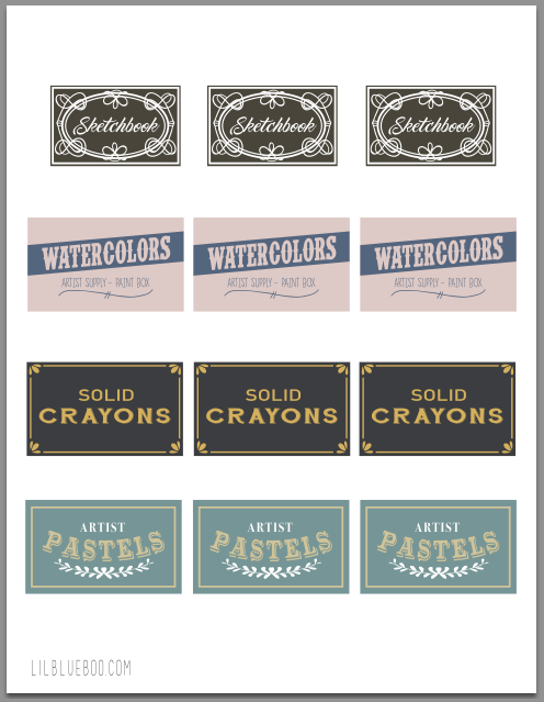 Printable vintage inspired art supply labels
