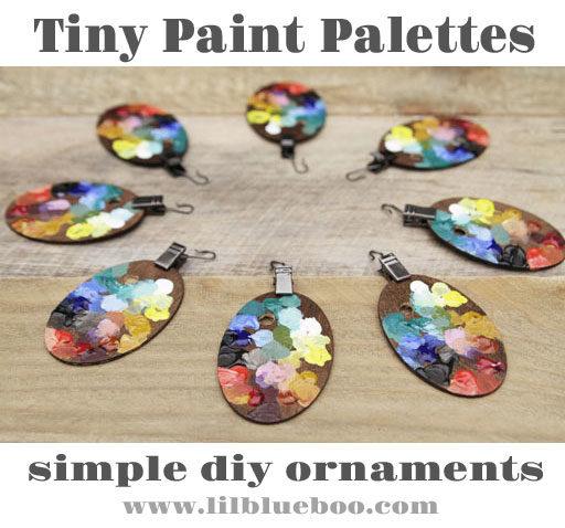 Tiny Paint Palette Ornaments - Art Themed Decor - Tiny Bob Ross themed paint palette DIY ornaments for my vintage art supply themed tree.