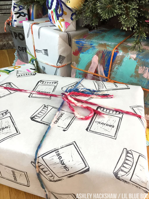 Handmade wrapping paper using stamps and paint
