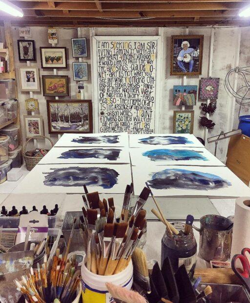 Basement art studio - artist Ashley Hackshaw