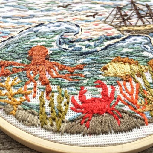 Sea life embroidery