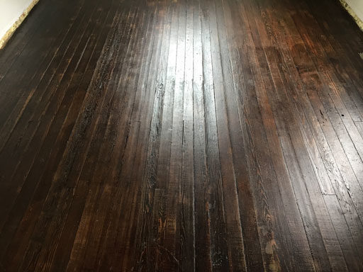 Farmhouse Floors - Saving and Refinishing 100-Year-Old Wood Floors - Jacobean Stain and Antique flat matte varnish