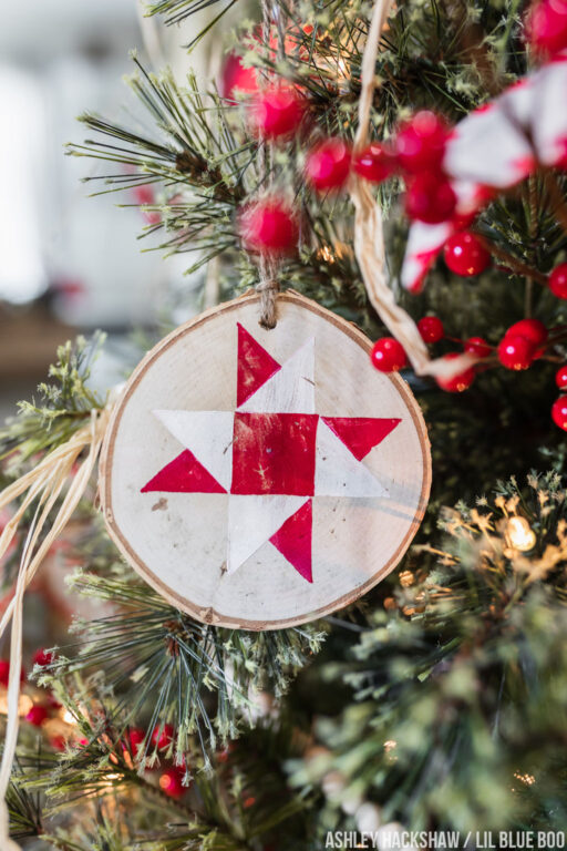 Stamped Quilt Ornaments - DIY Farmhouse Christmas Ornaments