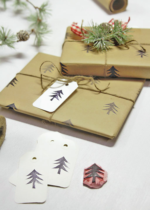 Handmade Christmas Wrapping Paper Diy Stamped Paper