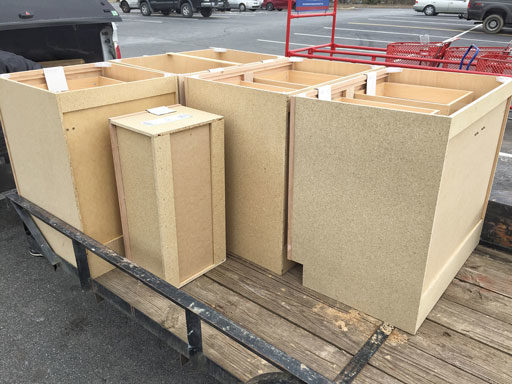 stock cabinets for farmhouse  kitchen renovation
