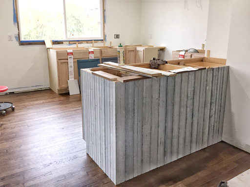 reclaimed wood in a farmhouse kitchen island