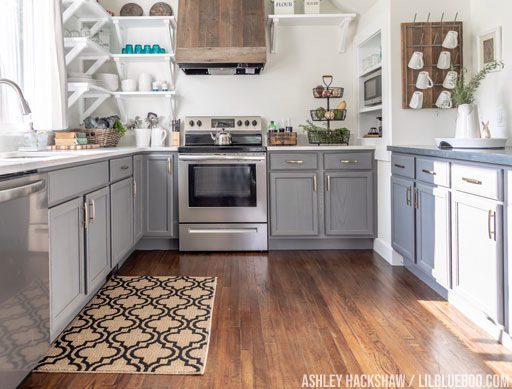 Our Farmhouse Kitchen - DIY Painted Stock Cabinets and Open Shelves