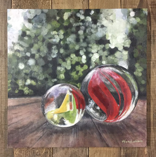 Marble and Mason Jar Paintings - Still Life with Marbles and Glass
