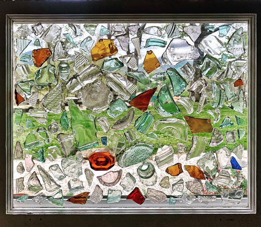 Found Object Glass Window Collage - DIY Glass Mosaic