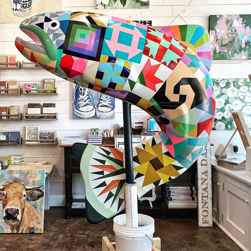 The Painted Trout Statue - A Quilted Trout for Bryson City