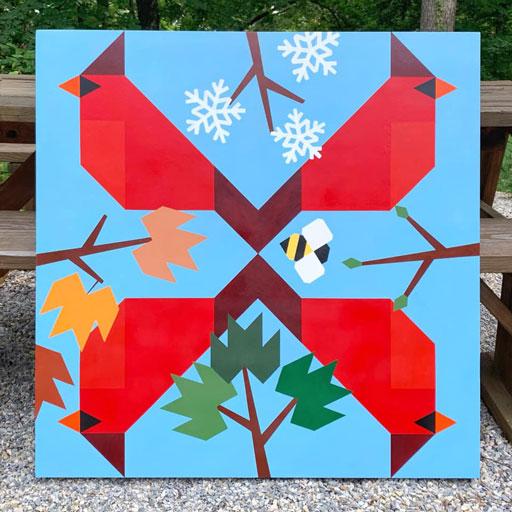 Cardinal barn quilt design and cardinal quilt block