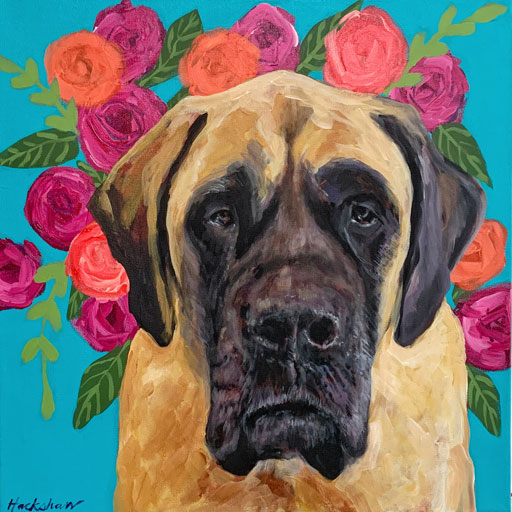 Dog portrait by Artist Ashley Hackshaw